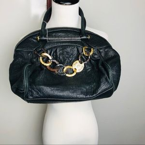 100 AUTH [JUICY COUTURE]  black leather satchel